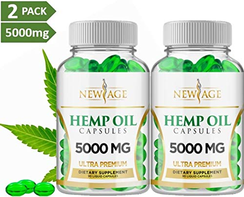 (2 Pack) Hemp Oil Capsules Pills - 5000 MG of Pure Hemp Extract Per Bottle - Pain, Stress & Anxiety Relief - Natural Sleep & Mood Support - Made in The USA - Maximum Value - Rich in Omega 3,6,& 9,