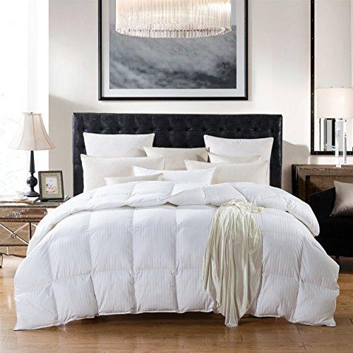 CAL KING Size 1200 Thread Count Siberian GOOSE DOWN Comforter, 100%  Egyptian Cotton, White Stripe, 750FP U0026 50Oz