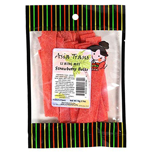 - Li Hing Mui Strawberry Belts 2.70 Ounce - Packed Fresh in Hawaii. Sweet and Tart strawberry belt candy sprinkled with Li Hing Mui Plum powder