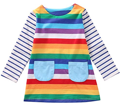 Baby Girl Rainbow Dress (Cute Toddler Baby Kids Girl Long Sleeve Striped Rainbow Party Princess Dress Spring Autumn Clothes (1-2 Years,)
