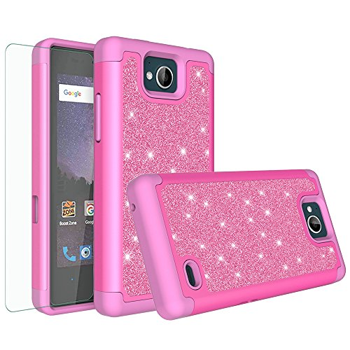 Bling Phone Covers - [GALAXY WIRELESS] For ZTE Majesty Pro Case,ZTE Majesty Pro Plus Case,Glitter Bling Hybrid Case [HD Screen Protector] Dual Layer Protective Phone Case Cover for ZTE Z799VL/ZTE Tempo N9131 - Hot Pink