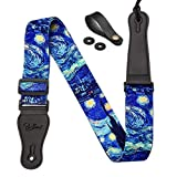 Van Gogh'Starry Night' Guitar Strap Includes Strap Button & 2 Strap Locks Shoulder Strap For Bass, Electric & Acoustic Guitar