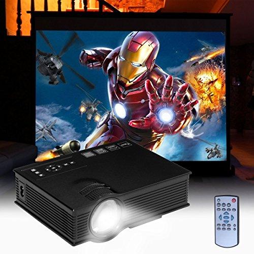UVISTAR UC40+ Portabler Mini Beamer, HD Multi-Media, LCD LED Projektor, Unterstützt AV / IP / IR / USB / SD / HDMI / VGA, 1080P, 800:1 Kontrast für TV Micro Heimkino Video Unterwegs Konferenzrunde Party Unterhaltung ( Schwarz )