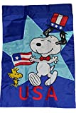 Peanuts Snoopy & Woodstock Patriotic … USA … One Sided Mini Decorative Flag 12″ X 18″(Memorial Day , 4th of July)