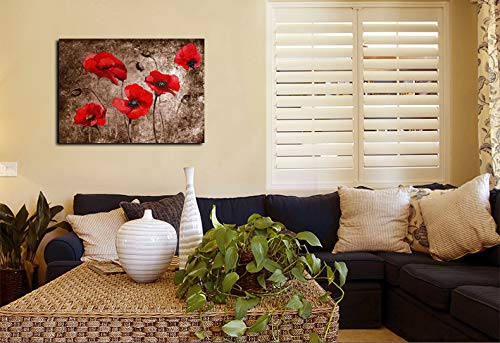 JunTung Canvas Art Wall Decor -Red Poppy Flowers Canvas Print with Stretched and Framed Ready to Hang for Home Office Decor 24\