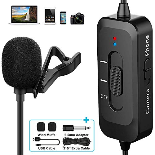 Professional Lavalier Microphone for iPhone/Camera/PC/Android, Lavalier Lapel Microphone with USB Charging, Omnidirectional Lapel Mic with Noise Reduction for Video, YouTube, Interview, Vlogging