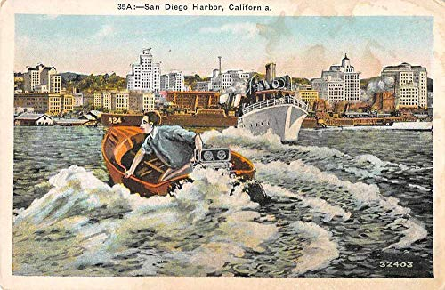 (San Diego California Harbor View Man in Small Boat Vintage Postcard JD933962)