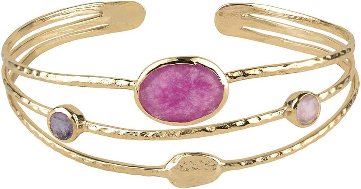 VIDAL & VIDAL Pulsera Mujer rígida Ajustable chapada en Oro con Cristal y Piedras de Colores Rosados