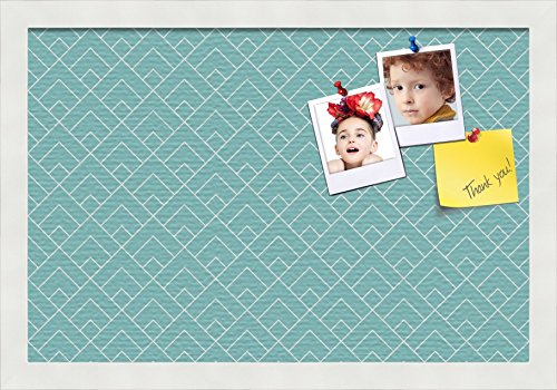 PinPix pin Cork Bulletin Board Made from Canvas, Peaks Modern Pattern Aqua 18x12 Inches (Completed Size) and Framed in Satin White Frame -