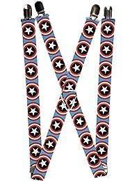 Captain America Marvel Comics Superhero Shield Logo Suspenders