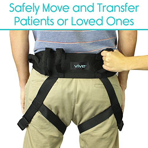 Transfer Belt with Leg Loops by Vive - Medical Nursing Safety Gait Assist Device - Bariatrics, Pediatric, Elderly, Occupational & Physical Therapy - Long Strap & Quick Release Metal Buckle - 55 Inch by Vive (Image #1)
