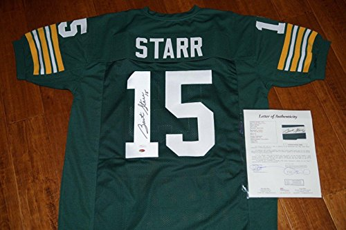Bart Starr Autographed Green (BART STARR #15 Signed GREEN BAY PACKERS Jersey + Letter COA #Z50666 - JSA Certified - NFL Autographed Miscellaneous Items)