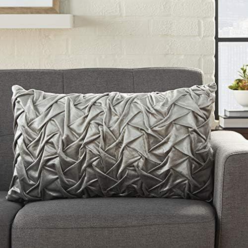 Nourison Life Styles Light Grey Velvet Pleated Waves Throw Pillow 14 x 24