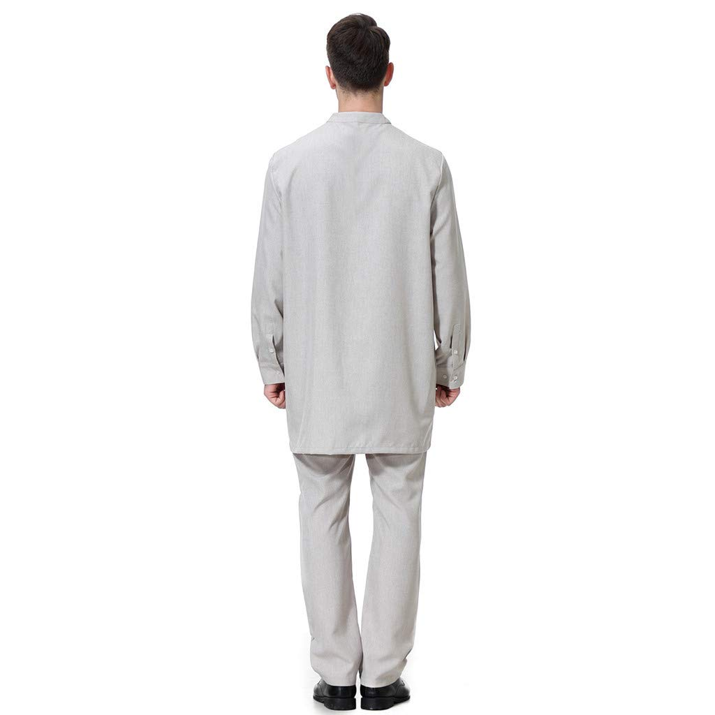 Hose Dubai Indien T/ürkisch T-Shirt Kost/üm M/änner Thobe Kleidung Set Arabisch Muslim Wear Langarm Thobe Lose Kaftan Dubai Langarmshirt Bluse Tops
