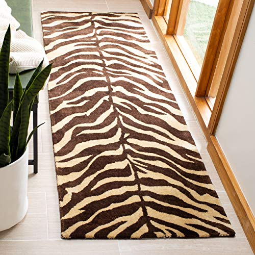 Bergama Runner Rug - Safavieh Bergama Collection BRG194A Handmade Beige and Brown Premium Wool Runner (2'3