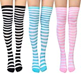 Chalier 3 Pairs Womens Long Striped Socks Over Knee Thigh High Socks Stocking