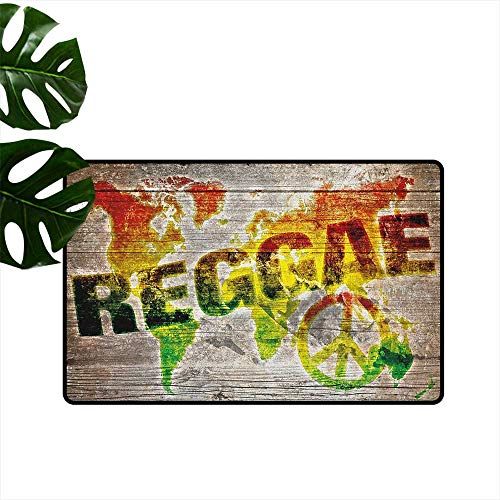 Rasta,Door mat World Map on Plaques with Reggae Lettering and Peace Symbol 36