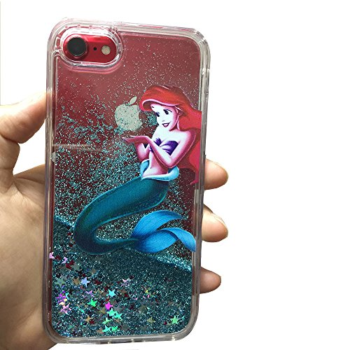Ariel Iphone Case - For iPhone 7/iPhone8 Case,Flowing Liquid Glitter Stars Case, [ Anti-dropping shockproof ]Brilliant Luxury Glitter Liquid Floating Protective case,Bling Bling Little Mermaid Ariel Holding Logo Apple