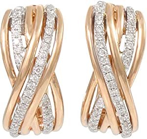 18K Two-Tone Gold with 72 Pieces 0.16 carat Genuine Diamond Hoop Earrings