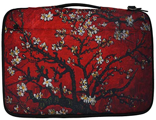 (Meffort Inc 14-15.6 Inch Printed Canvas Laptop Sleeve Protective Case, Compatible with Ultrabook Notebook Asus Acer Lenovo Dell HP Toshiba Computers - Van Gogh Cherry Blossom )
