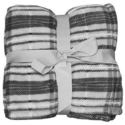 Livingston Fleece Lined Tartan Plaid Flannel Winter Blanket, Grey_plaid Blanket Plaid Flannel