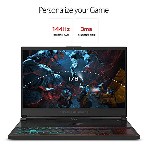 ASUS ROG Zephyrus S Ultra Slim Gaming PC Laptop, 15.6in 144Hz IPS-Type, Intel i7-8750H GeForce GTX 1070, 16GB DDR4, 512GB NVMe SSD Win 10 Home- GX531GS-AH76 (Renewed)