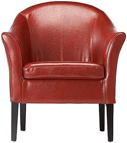 Leather Monte Carlo Club Chair, 32u0026quot;Hx28u0026quot;Wx28u0026quot;D, BURNT ORANGE