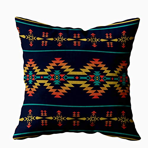 Shorping Zippered Covers Pillowcases 20X20Inch Throw Pillow Covers Geometric Pattern Native Southwest American Print Ethnic Design Fabric Textile Decorative Pillow Covers for Home Sofa Bedding (American Geometric Designs Native)