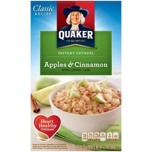 Quaker Apple - Quaker Instant Oatmeal - Apple & Cinnamon, Heart Healthy Oatmeal, 10-count box, (Pack of 2)