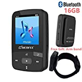 16GB Bluetooth MP3 Player, Sports Clip Hi-Fi Sound Music Player with FM Radio, Pedometer, 1.5 Inch OLED Screen, Support Micro SD Card up to 64GB, Black