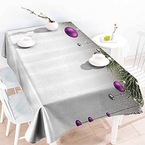 Homrkey Fabric Dust-Proof Table Cover Christmas Tree with Tinsel and Ball with Present Wrap Ribbon Celebration Picture Purple Grey Green Party W70 xL102