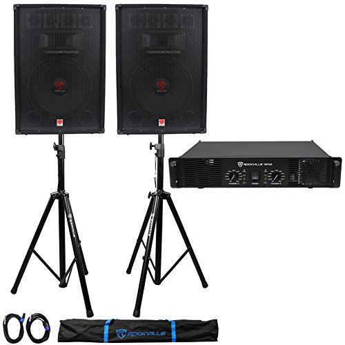 (2) Rockville RSG15.4 15'' PA Speakers + Rockville RPA8 Amp + Stands+Cables+Case by Rockville