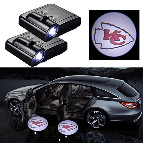 For Kansas City Chiefs Car Door LED Welcome Light, 2Pcs Car Door Courtesy Light Logo Projector Shadow Ghost Light Lamp Fit for All Vehicles