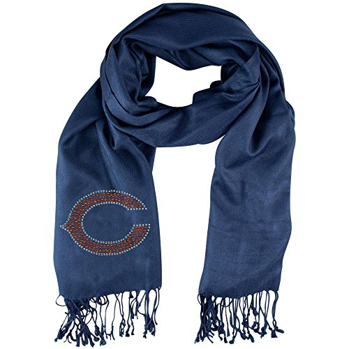 1 Piece Nfl Bears Scarf 70 X 25 Inches, Football Themed Woman Accessory Sports Patterned, Team Logo Fan Merchandise Athletic Team Spirit Fan Navy Blue Orange, Polyester by NI