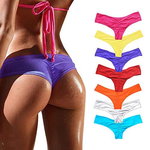 YOFIT Women's Bikini Thong Bottom Brazilian Sexy Ruched T Back Cheeky T String Purple M