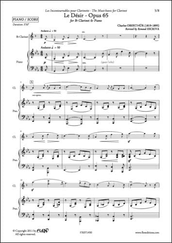 PARTITURA CLASICA - Le Désir - Opus 65 - C. OBERTHUR - Clarinet ...