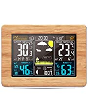 Wireless Weather Station with Color High Definition Display ALLOMN Indoor Outdoor Digital Thermometer Home Alarm Clock with Temperature Humidity Barometer Alarm Moon Phrase (Upgrade Yellow Bamboo)