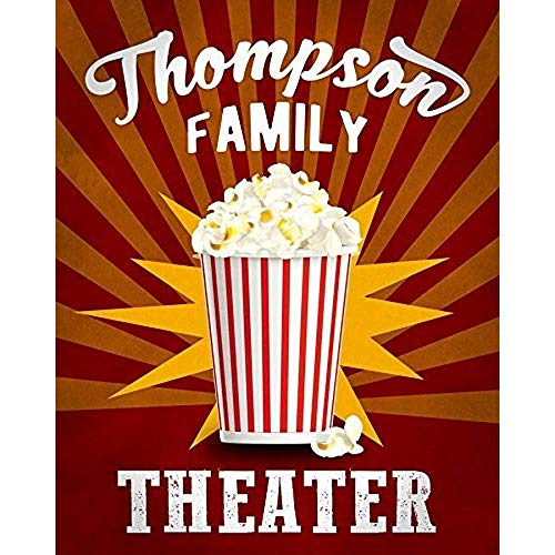 TGDB Personalized Theater Popcorn Family Name Kitchen Sign Gift for Dad Man Print Metal Sign