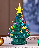 Retro Lighted Tabletop Christmas Trees , Green Small