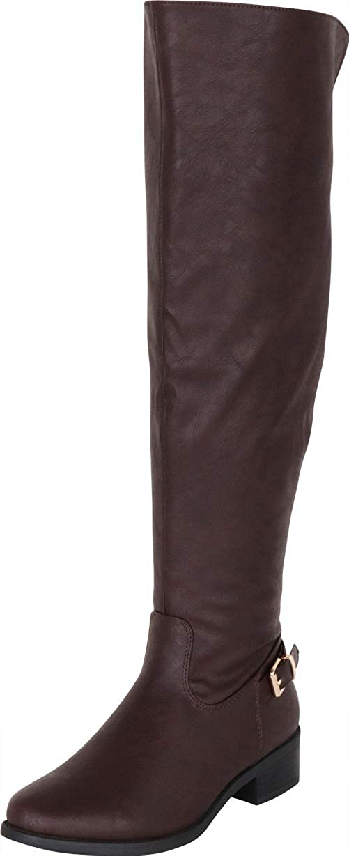 Brown Pu Cambridge Select Women's Classic Thigh-High Over The Knee Riding Boot