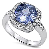 Sterling Silver Simulated Tanzanite And Cubic Zirconia Ring - Size 6