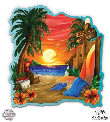 "GT Graphics Tropical Beach Vacation - 12"" Vinyl Sticker Waterproof Decal"