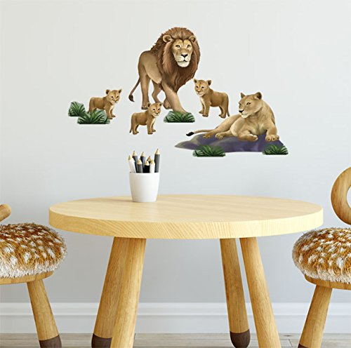 Create-A-Mural Kids Wall Decals, Lion Family Wall Decor Stickers, Animal Wall Art (13) 1