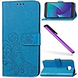 Asus Zenfone V V520KL Case Cover EMAXELER Stylish Colour Kickstand Credit Cards Slot Cash Pockets Embossing PU Leather Flip Wallet Case For Asus Zenfone V V520KL Clover Blue