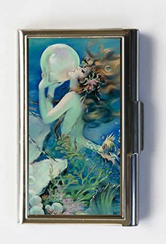 Mermaid holding a Pearl Business Card Holder Card Case