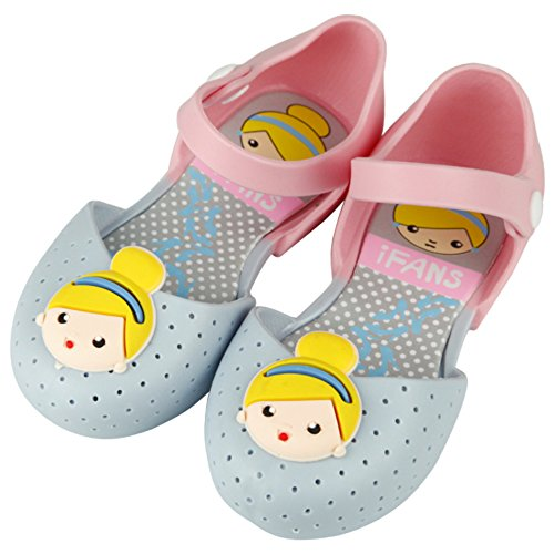 Princess Leia Shoes (iFANS Girls Cute Princess Jelly Shoes Mary Jane Flats for Toddler Little Kids,Blue,10 M US Toddler)