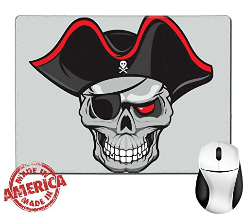 "Luxlady Natural Rubber Mouse Pad/Mat with Stitched Edges 9.8"" x 7.9"" IMAGE ID: 36132304 pirate skull with hat isolated for tattoo or t shirt design"