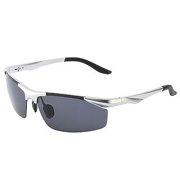 ZYZHjy Hombres Gafas De Sol Polarizadas,Plata Negro