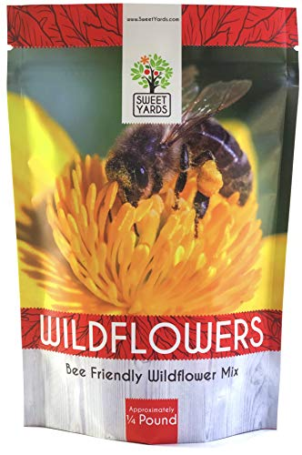 Bee Friendly Wildflower Seed Mix - Bulk 1/4 Pound Bag - Over 30,000 Open Pollinated Seeds - 100% Pure Live Seed - Save The Bees! (Best Flower Seeds To Plant In Summer)