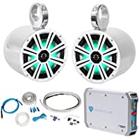 Pair KICKER 43KM84LCW 8 600w Marine LED Wakeboard Speakers+Amplifier+Amp Kit